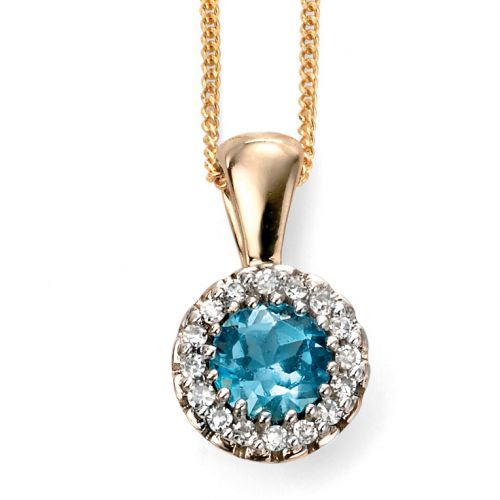 9ct Yellow Gold Diamond and Blue Topaz Cluster Pendant