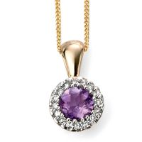 9ct Yellow Gold Amethyst and Diamond Cluster Pendant