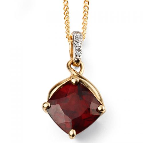 9ct Yellow Gold Garnet Drop Pendant and Chain