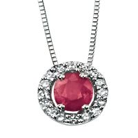 9ct White Gold Diamond and Ruby Oval Pendant