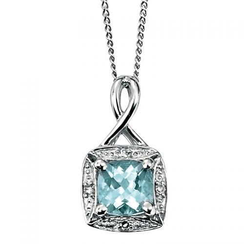9ct White Gold Diamond and Aquamarine Pendant