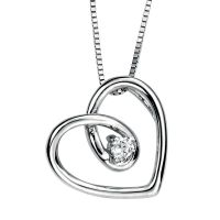 9ct White Gold Diamond Spiral Heart Pendant