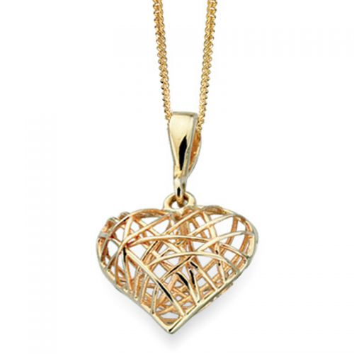 9ct Yellow Gold Caged Heart Pendant and Chain