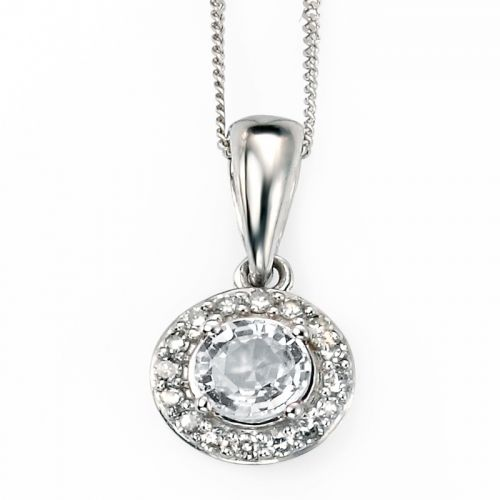 9ct White Gold Diamond and White Topaz Pendant