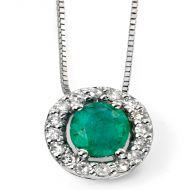 9ct White Gold Diamond and Emerald Oval Pendant