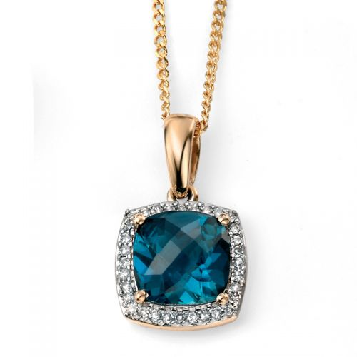 9ct Yellow Gold London Blue Topaz Cushion Cut Pendant