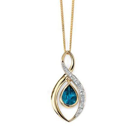 9ct Yellow Diamond Blue Topaz Pendant