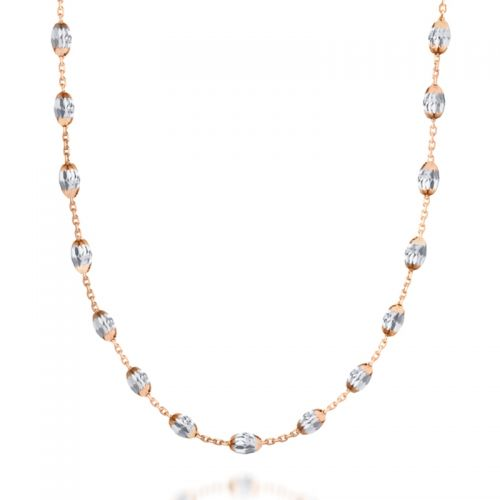 16'' Diamond-Cut Bead Necklace in Rose Gold