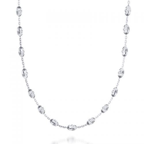 "30"" Diamond-Cut Bead Necklace in Silver"
