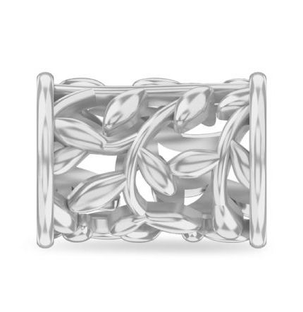 Endless Twisted Leaves Silver Charm