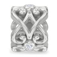 Endless Heart Rose Silver Charm