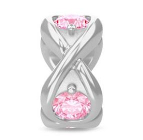 Endless Pink Infinity Ocean Silver Charm
