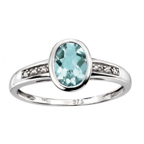 Diamond & Aquamarine White Gold Ring