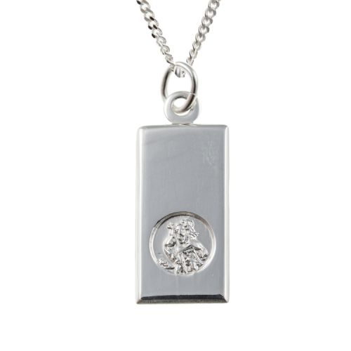 Ingot Style St. Christopher Pendant and Chain