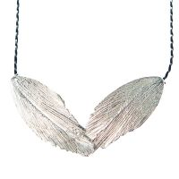 Aurum Raven Large Feather Necklace in Silver