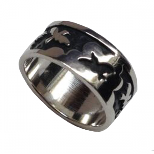 Annabel Humber Dove Engraved Silver Ring - size M