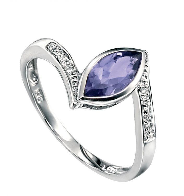 Iolite And Diamond Ring White Gold Ring Amulet Fine