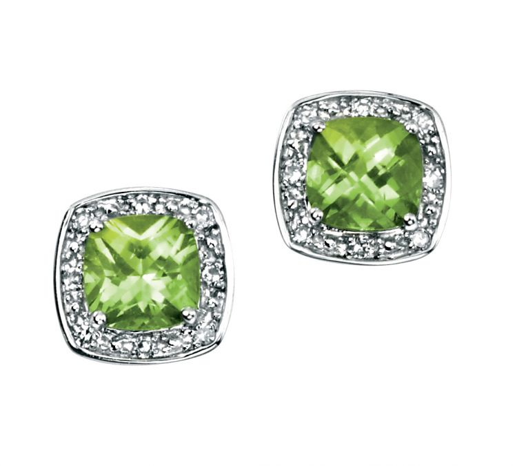 Peridot Diamond White Gold Studs